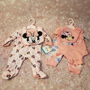NWT Disney Baby Footed Onsie & Bib Sets